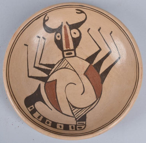Native American, Vintage Poly Chrome Hopi Beetle Design Pottery Bowl, Ca. 1960's, #1158