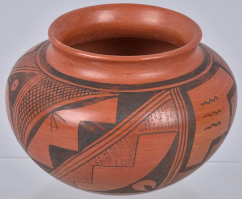 Native American Vintage Red on Black Hopi Pottery Jar, by Laura Tomosie, Ca 1968, #1159
