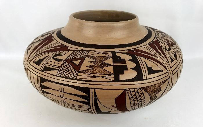 "Native American, Hopi Poly Chrome Pottery Bowl, By Eunice Navasie (1920-1992) Fawn, Ca 1950""s #1298"