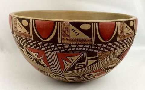 Native American Hopi Poly Chrome Pottery Bowl, by Beth Sakeya, Ca 1970's #1301