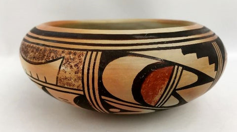 Native American Vintage Hopi Poly Chrome Pottery Bowl, by Bernite Beeson, Ca 1950's, #1305