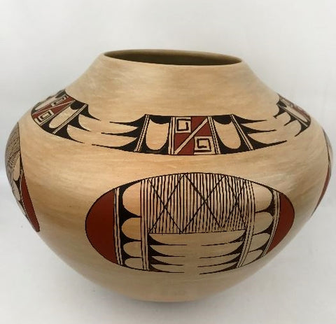 Native American, Vintage Hopi Poly Chrome Pottery Bowl, by Fawn Garcia Navasie, Ca 1980's #1306 Sold