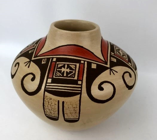 Native American Vintage Hopi Poly Chrome Pottery Bowl, by Melda Garcia Nampeyo Ca 1980's   #1307