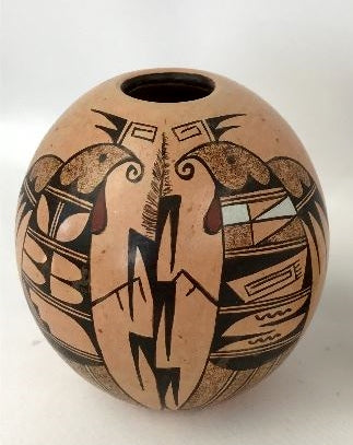 Native American Vintage Hopi Poly Chrome Pottery Seed Jar by C.R. Sequi Komalestewa, Ca 1980's, 1309a