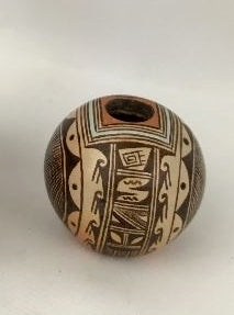 Native American Vintage Hopi Poly Chrome Pottery Seed Jar by C.R. Sequi Komalestewa, Ca 1980's, 1309 b