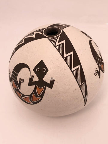 Native American, Vintage Acoma Poly Chrome Seed Jar, by Emma Lewis, Ca 1980's, #1505