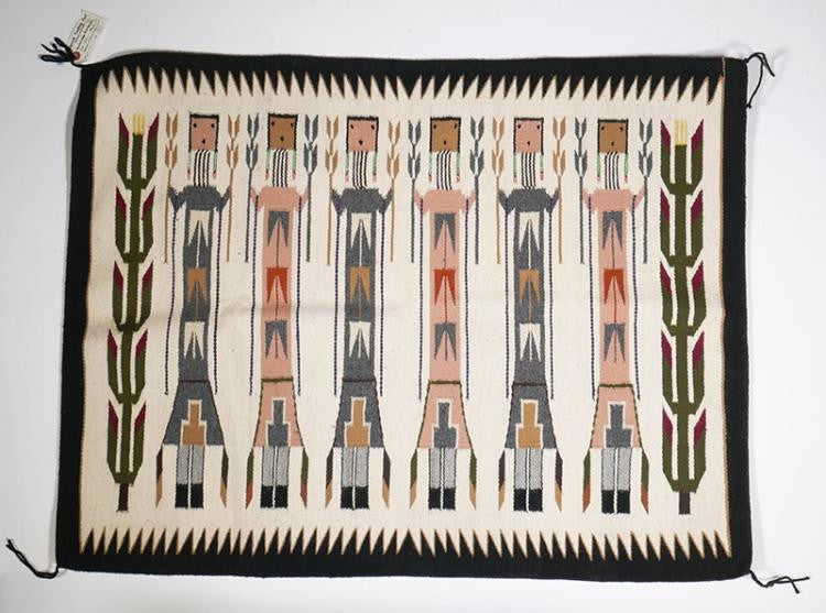 Native American, Navajo Corn Yei Rug by Mary Marshall, Ca, 1970, #1143