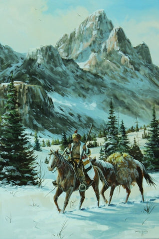 "Western Painting, ""Crossing The Pass. Oil on Panel, Gerry Michael Metz (b. 1943) #1212"