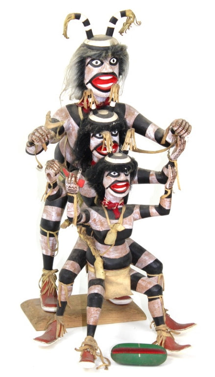 Native American, Three Folk Art, Navajo Carved Clowns, by P.F. Foster #1213