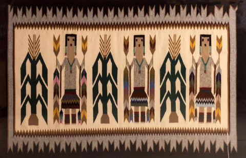 Native American, Navajo Hand Woven Wool Ye-bichai Rug or Textile, Ca, 1970's, #978 Sold