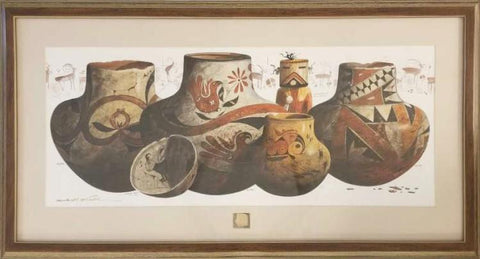 Western Artist Michael McCullough Laguna, Hopi Pottery Watercolor Painting, Ca 20th Century, #1131