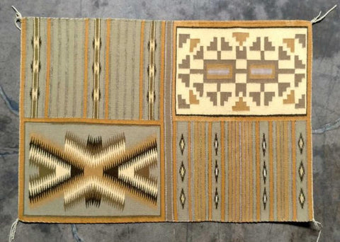 "Native American Navajo Vegital Dyed ""4-N-One' Sampler Weaving, Hubble Trading Post, Ca 1970's, #1135"