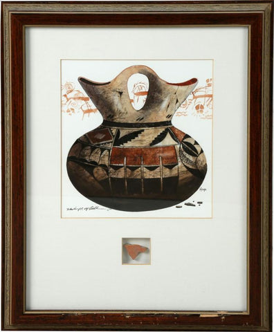 Native American, Western Artist, Michael C. McCullough Water Color Painting Of Historic Hopi Pottery Wedding Vase, #1172