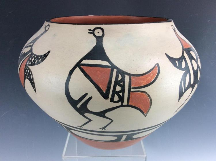 Native American Santo Domingo Pottery Bowl, by Paulita Pacheco, Ca 1980's, #1183