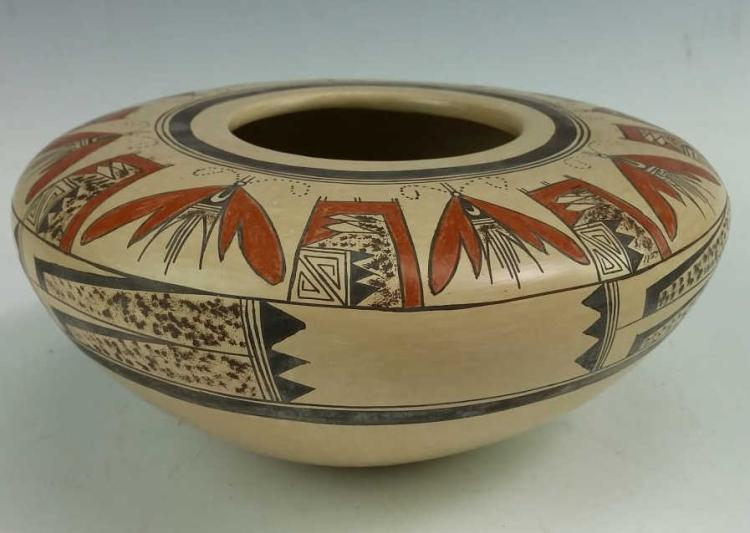 Native American, Vintage Hopi Pottery Bowl, by Jean Sahme, Ca 1980's, #1185