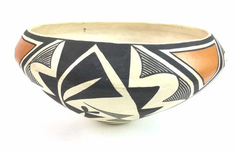 Native American, Vintage Acoma Poly Chrome Pottery Bowl, by Adrian Trujillo, Ca 1980's, #1346