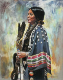 "Western Artist, Bill Lundquist, ""Ribbon Shawl"", Pastel Drawing, Ca 1981, #812"