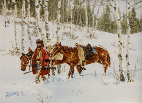 "Western Artist Ron Stewart, Water Color Painting, ""Lone Trapper"", Ca Early 1970's # 815"
