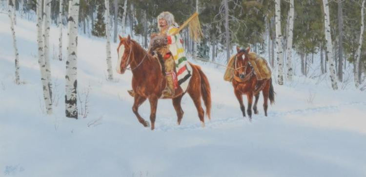 "Western Artist, Ron Stewart ""Looking for Game"" Water Color Painting, c.1982, #839"