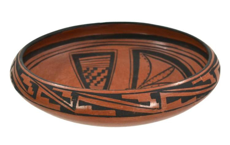 Native American, Hopi Pottery Bowl with Butterfly, by Edith Nash, Ca 1960's, #879 SOLD