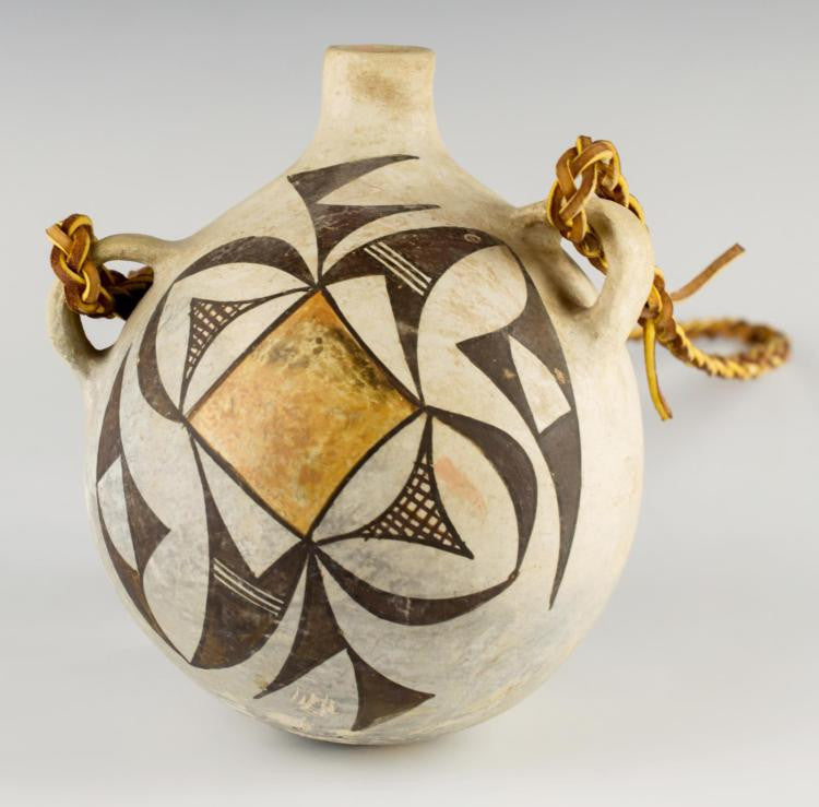Native American Acoma Polychrome Pottery Canteen, CA 1930's, #940
