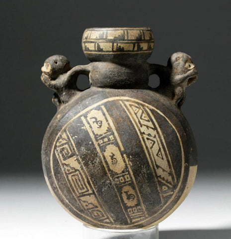Pre-Columbian, Chancay , Monkey Pottery Canteen, CA 1000 to 1470 CE, #1432