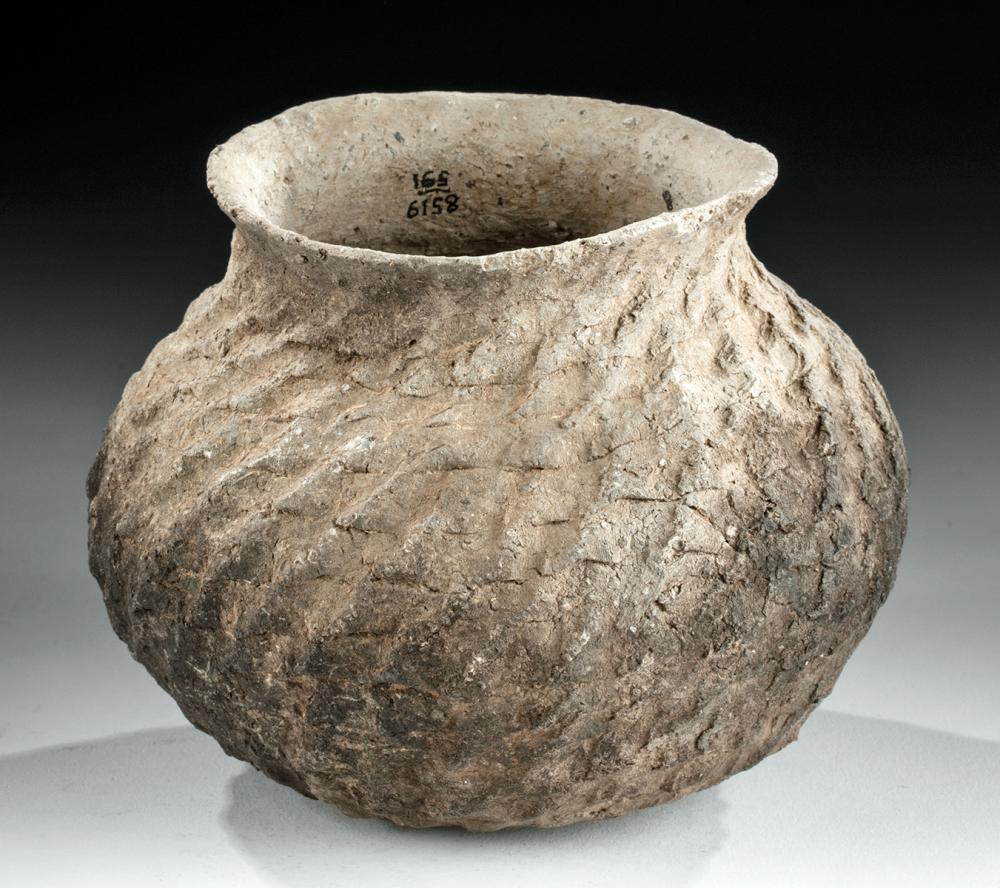 Anasazi Corrugated Pottery Jar - From the Mesa Verde Museum, Ca. 1000 to 1150 CE, #1503