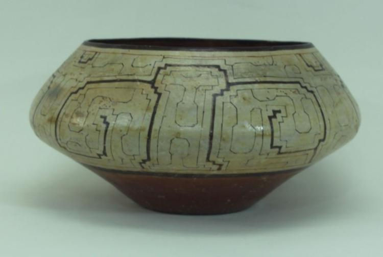 Extraordinay Hugh Vintage Shipibo Indian Pottery Bowl, Ca 1950's #1362