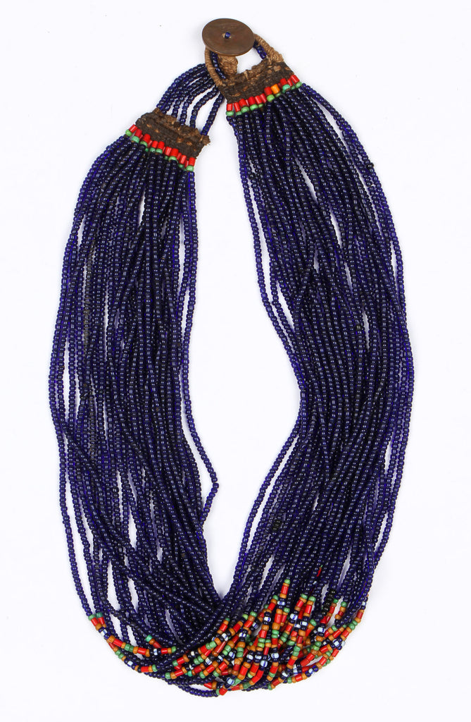 Authentic Konyak Naga,  Royal Cobalt Glass Bead Necklace, Ca Early 1900's, #1482