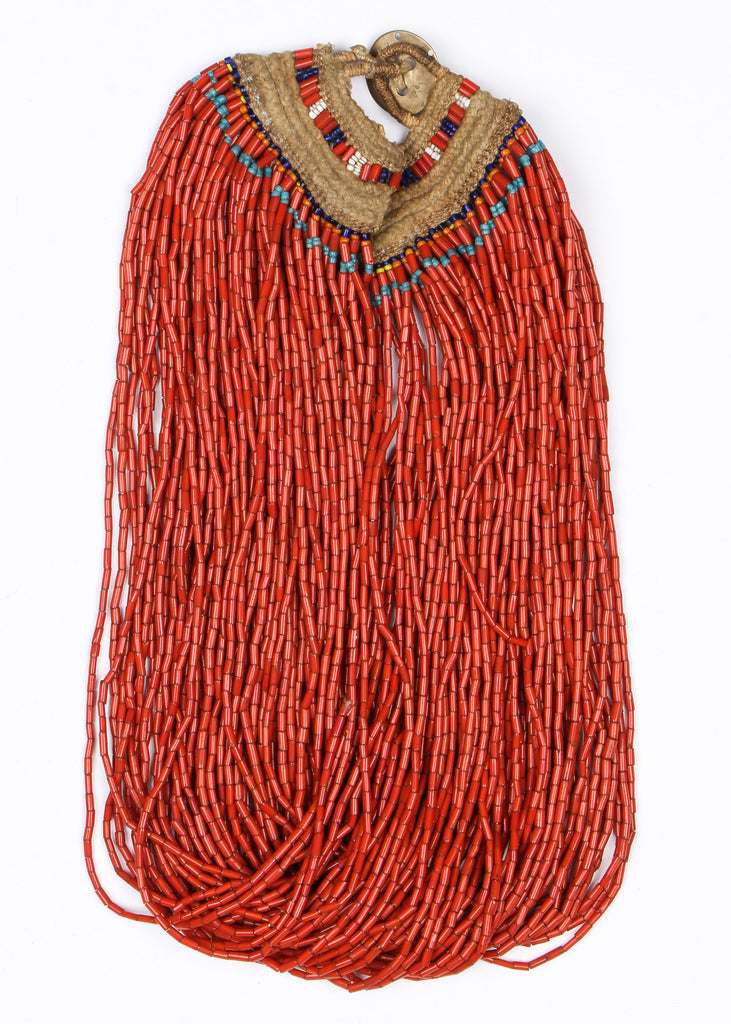 "Authentic Konyak Naga Red Glass Bead Necklace, Ca Early 1900""s, # 1481"
