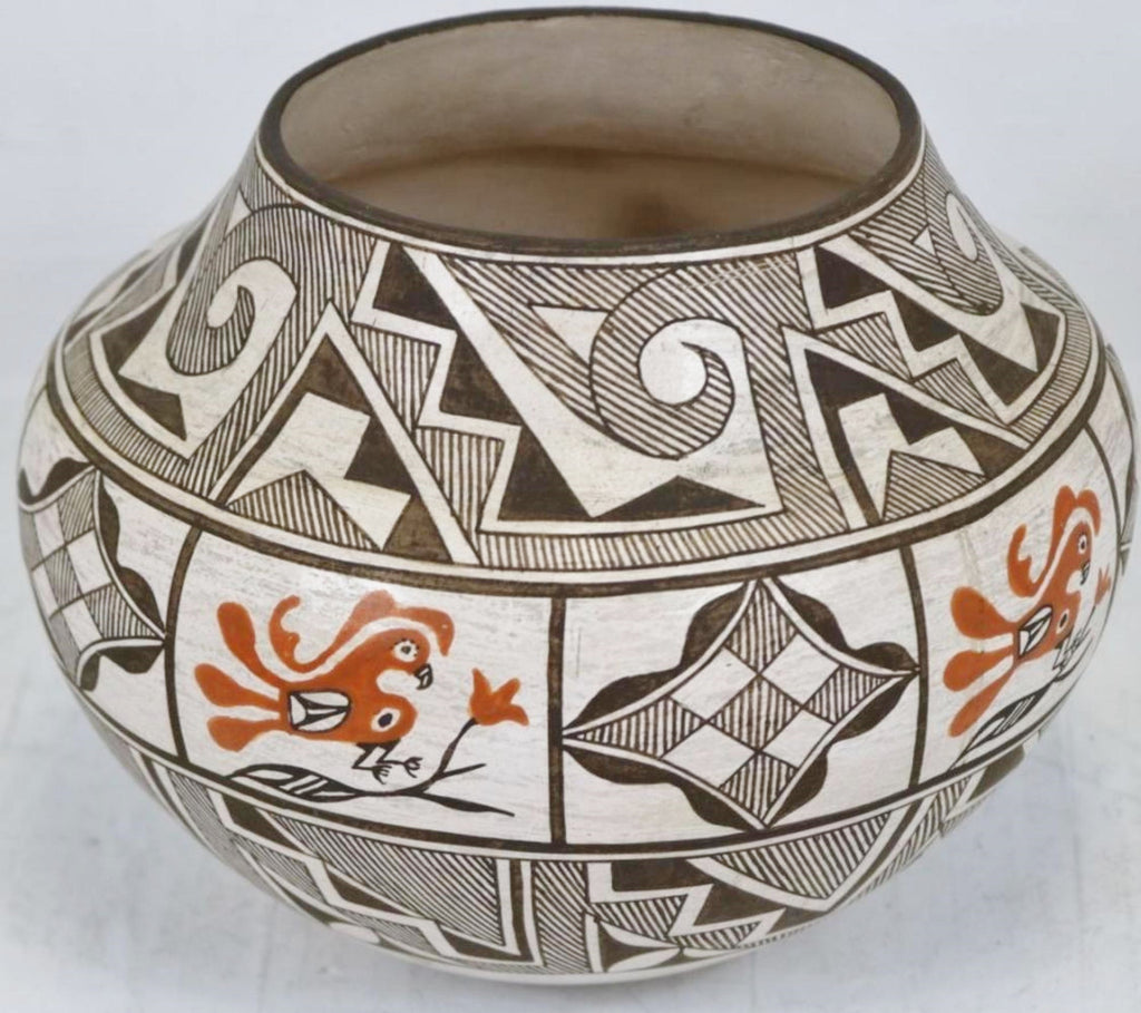 Native American, Extraordinary Vintage Acoma Poly Chrome Pottery Olla by Grace Chino, Ca, 1970's, #1450