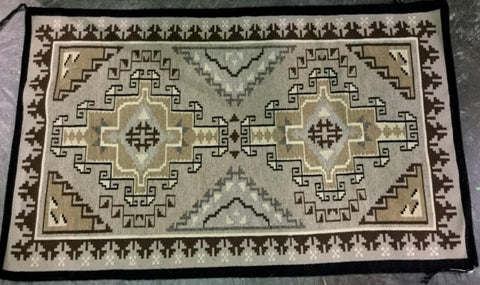 Native American, Vintage Navajo Two Grey Hills Weaving, Ca 1970's, #1264
