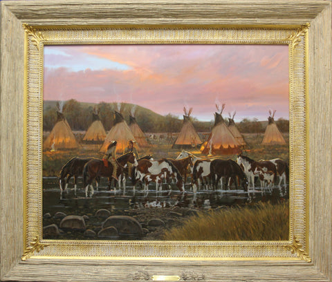 "Western Artist, Ron Stewart Oil Painting, ""In The Morning Glow"",#776"