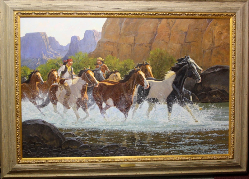 "Western Artist, Ron Stewart, Oil Painting, ""Canyon Escape"", #777 -Sold"