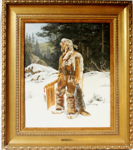 "Western Artist, Karin Hollebeke, Oil Painting, "" The Trapper"", Ca 1970. #906"