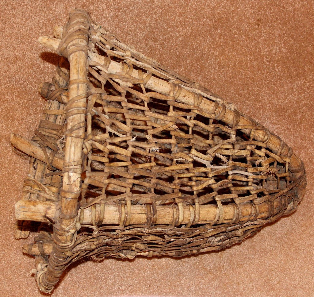 Tarahumara Indian Woven Cowhide Burden Basket, #929