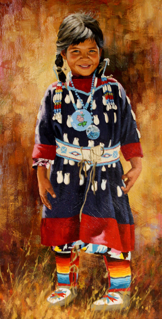 Celebrated Artist, Jim Schaeffing, Little Crow Beauty, Oil painting, Ca 1986, #963 Sold