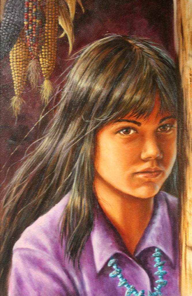 "Western Art, ""Corn Girl"", Oil Painting by L. Karrren Brakke, Ca 1982, #980 Donated to NRA Foundation 2016"