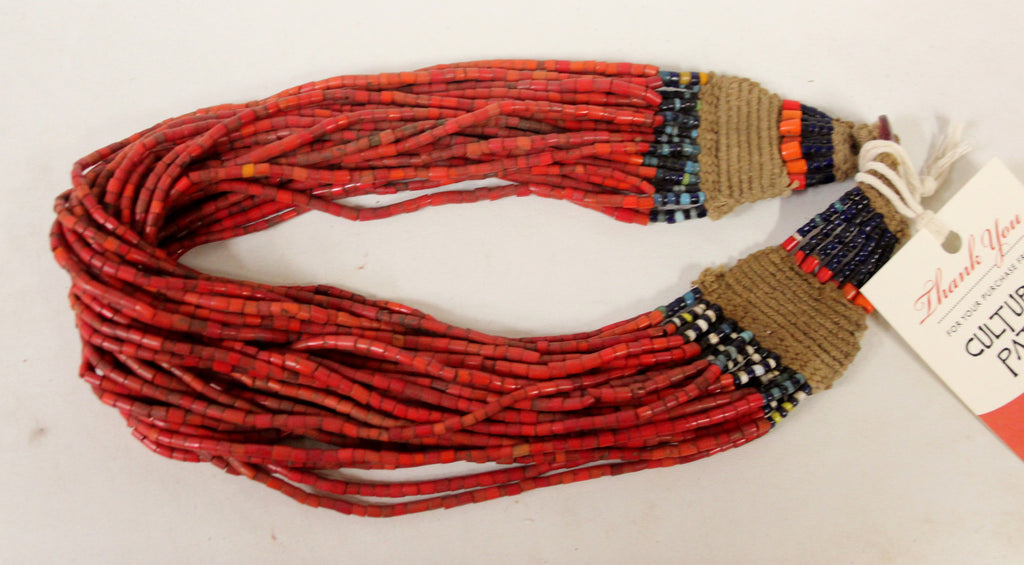 Authentic Naga Heavy Red Multi-strand Glass Bead Necklace, #1052