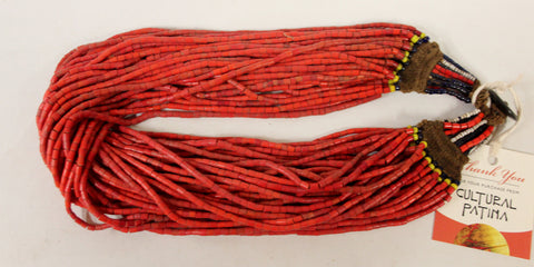 Glass Bead Necklace : Authentic Naga Heavy Red Multi-strand Glass Bead Necklace, with Macrame Closure #1051