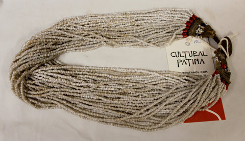 Authentic Naga White Glass Bead Multi-strand Necklace, with 43 Strands of Beads, and Macrame Closure, #1050 Sold
