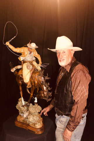 "Western Artist, James P. Regimbal, (1949) Limited Edition of 75, Bronze Sculpture, ""Ropping a Big Sky"", 2018, Made to Order #1390"