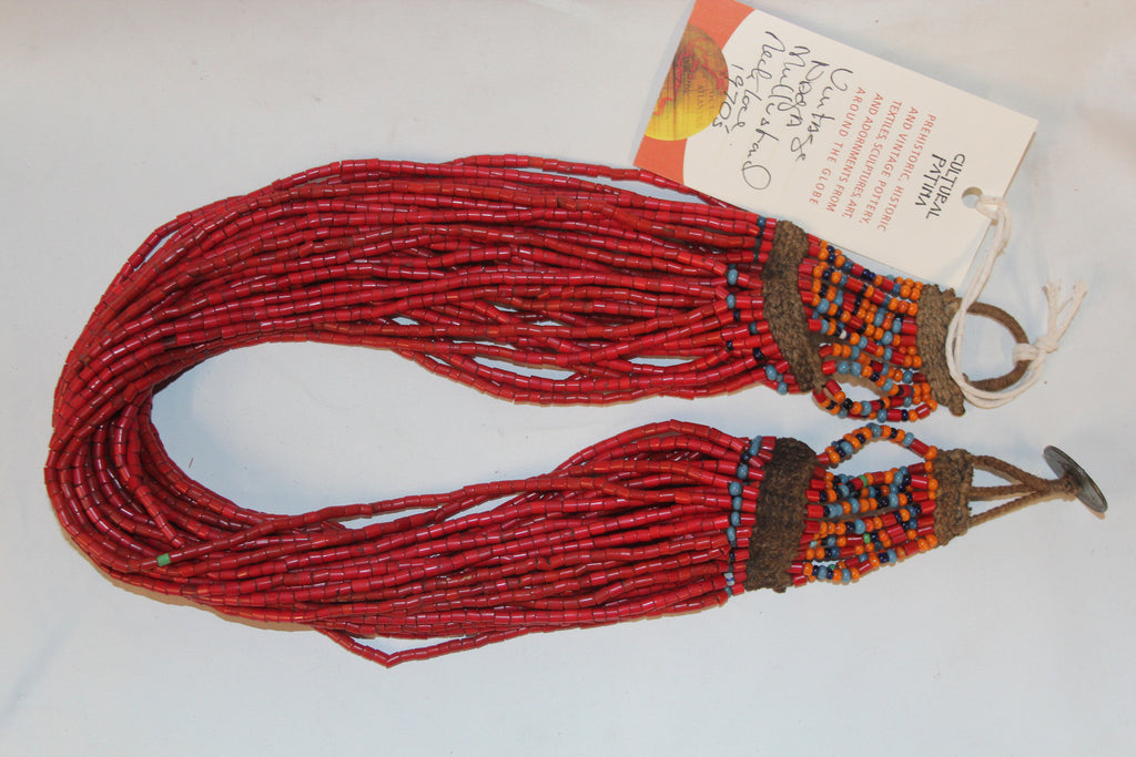 Naga Medium Red Multi-strand Glass Bead Necklace, #1063