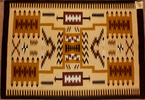 Native American Vintage Navajo Chinle Storm Pattern Weaving by Nancy Etsitty, Ca 1970's, #1219