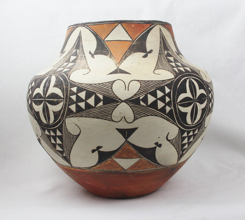Native American, Historic Acoma Poly Chrome Pottery Olla, Ca 1920's-30's, #1314