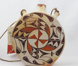 Native American, Vintage Acoma Poly Chrome Pottery Canteen, Ca 1970's, #1370
