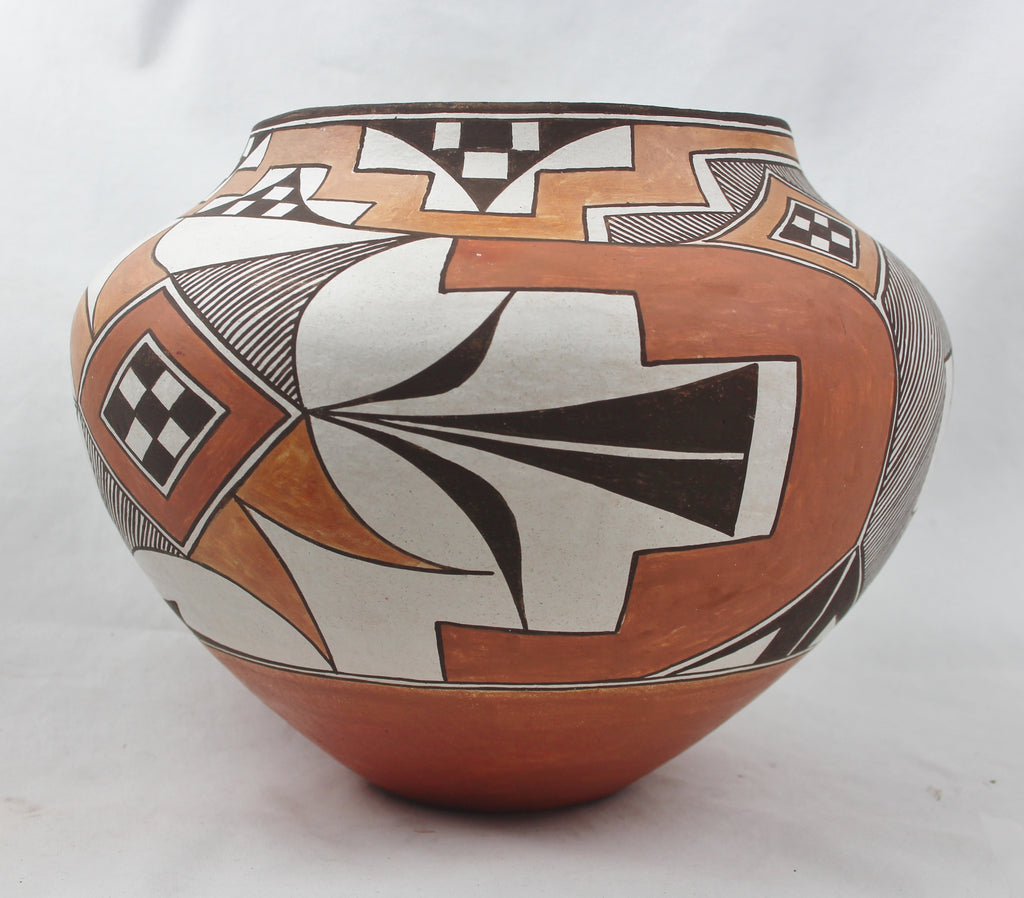 Native American, Vintage Acoma Poly Chrome Pottery Olla, Ca. 1975, By L. Concho, #1464 Sold