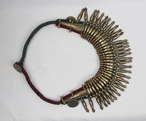 Primitive Rana Tharu, Tribal Spike Collar Kanthshri Necklace Nepal #1471