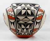 Native American, Vintage Acoma Poly Chrome Pottery Olla, by Florance Aragon, Ca 1980's, #1475.
