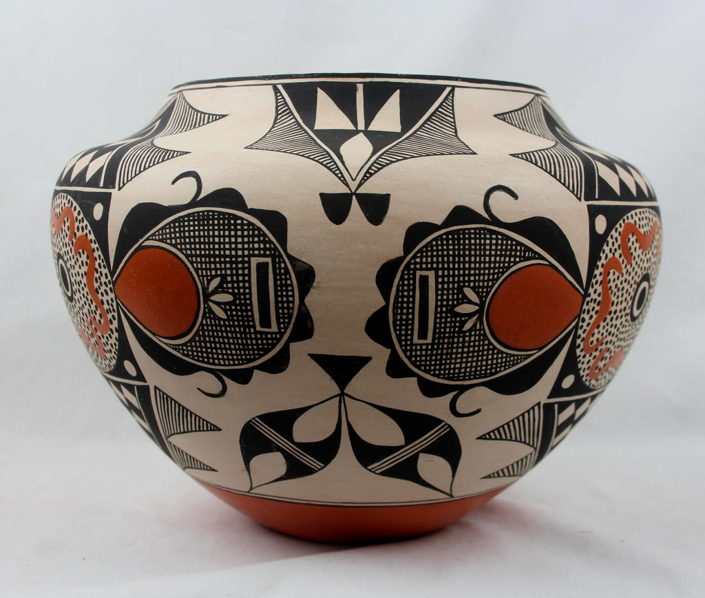 Native American, Vintage Acoma Poly Chrome Pottery Olla, by Rachel Aragon, Ca 1980's, #1474.